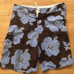 Kirra Men's Board Shorts Hibiscus Print Brown Blue